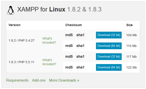 Страница загрузки XAMPP для Linux