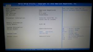 Главное меню UEFI