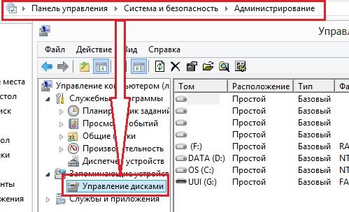 "утилита ""Управление дисками"" в Windows"
