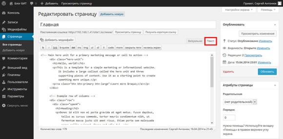 """Вкладка """"Текст"""" в визуальном редакторе WP"""