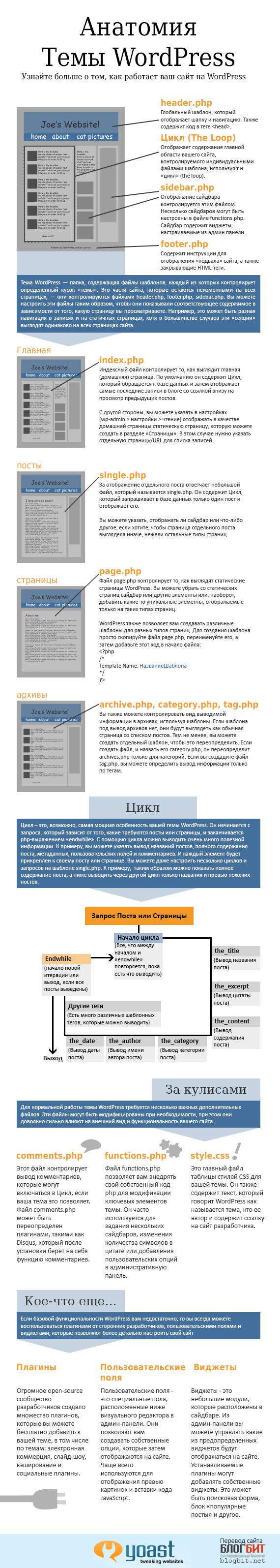 Анатомия темы WordPress - инфографика
